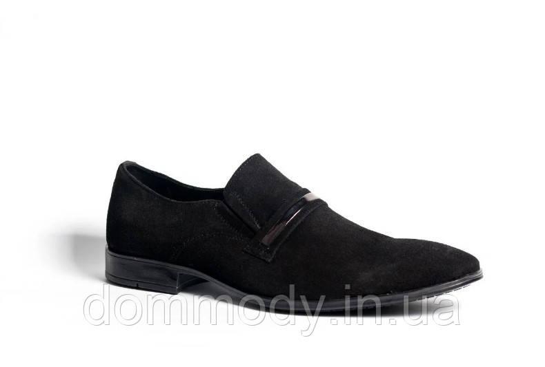 Туфлі чоловічі замшеві чорного кольору