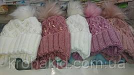 Зимові шапочки для новонародженого на флісі з зав'язочками і бубоном на вік 0-4 міс