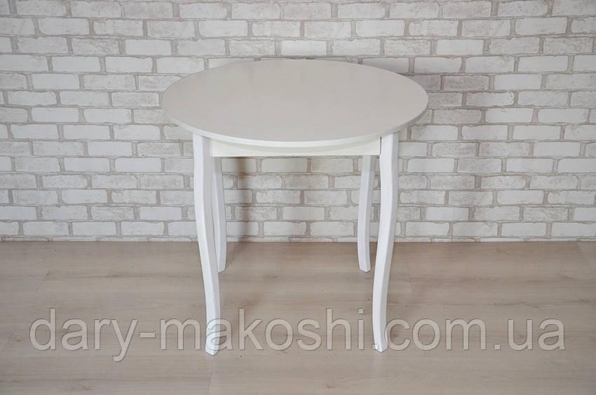 Круглый стол Тавол Крег D600 ножки фигурные деревянные Белый