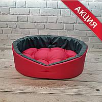 Мягкий лежак лежанка для не крупных собак и кошек Красный с серым