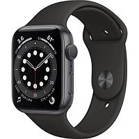Apple Watch Series 6 44mm Space Gray Aluminum Case with Black Sport Band (M00H3), фото 1