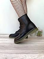 """Ботинки женские кожаные Dr. Martens """"Черные"""" с мехом размер 36-40, фото 1"""