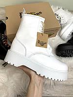 """Ботинки женские зимние кожаные Dr. Martens Jadon """"Белые"""" с мехом размер 36-40, фото 1"""