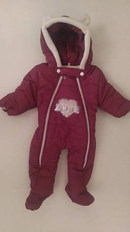 Утепленный демисезонный комбинезон детский для новорожденных 68-74, фото 2
