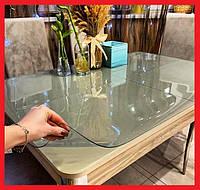 Мягкое стекло Прозрачная силиконовая скатерть на любой стол! Защита для мебели 1х1,4м (Толщина 1.0мм)
