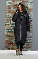 Зимнее стильное женское длинное пальто с капюшоном 52-54 56-58 черный
