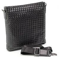 Мужская кожаная сумка Bottega Veneta черная через плечо на молнии bov-58961-2 bla, фото 1