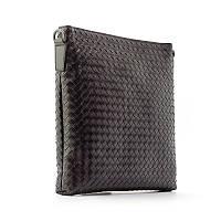 Мужская кожаная сумка Bottega Veneta 58961-2 черная маленькая плетеная через плечо из натуральной кожи, фото 1