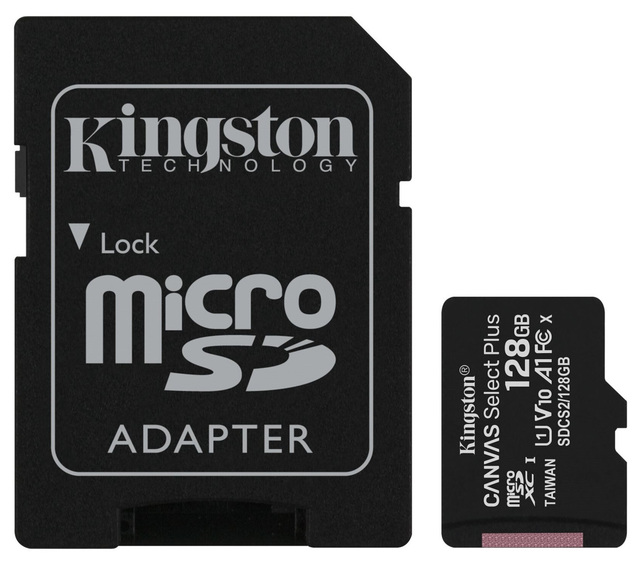 Карта памяти Kingston microSDHC 128GB Canvas Select+ A1 (W100/W85) + SD адаптер (6519923)