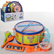 Музыкальные инструменты 5805E  барабан, маракас, бубен, гармошка, дудка, в коробке