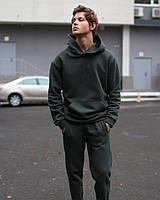 Спортивный костюм ЗИМНИЙ мужской Basic на флисе хаки | комплект теплый Худи + Штаны ЛЮКС качества