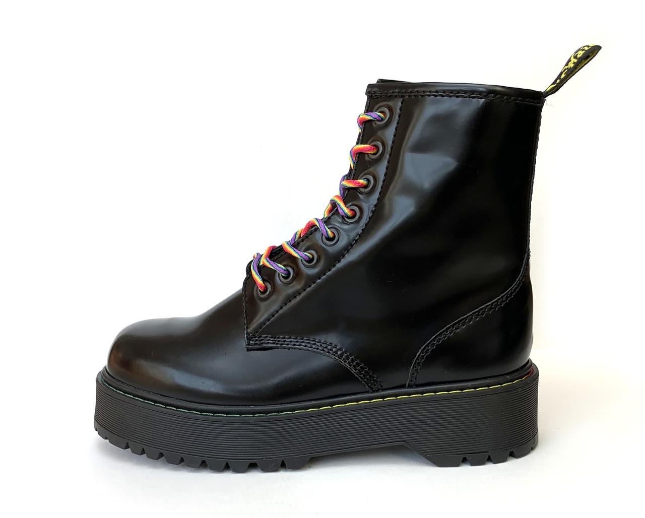 Женские зимние ботинки Dr. Martens Jadon Black (Мех), др мартенс, жіночі черевики Dr Martens, ботінки мартінс