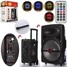 Портативна акумуляторна Bluetooth колонка-валізу на колесах з ручкою LT-1203 в комплекті мікрофон