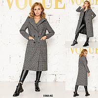 Клетчатое женское пальто 1068 АБ
