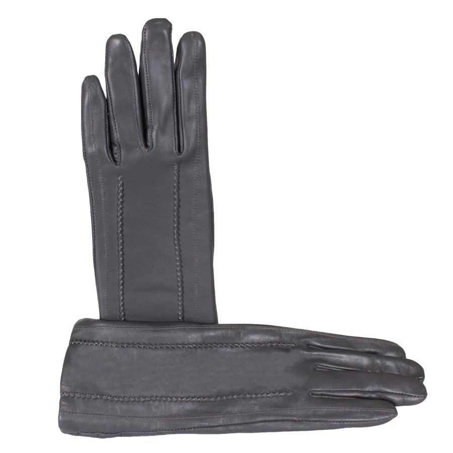 Удлиненные перчатки женские кожаные de esse Темно-серые