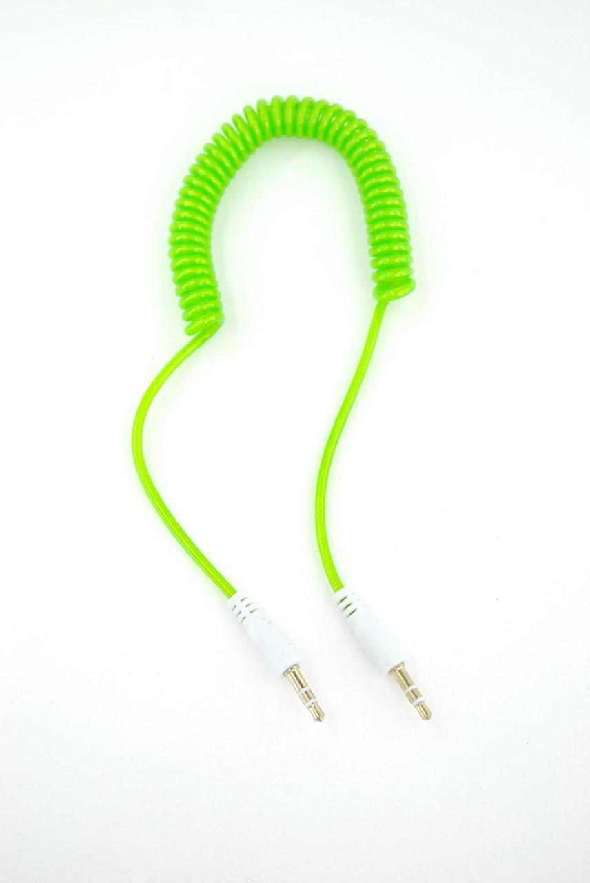 Аудио кабель 3,5mm/3,5mm AUX 1.5m (пружина) Green