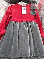 """Сукня святкова велюр комбі """"бант"""" 6-9 років 816"""