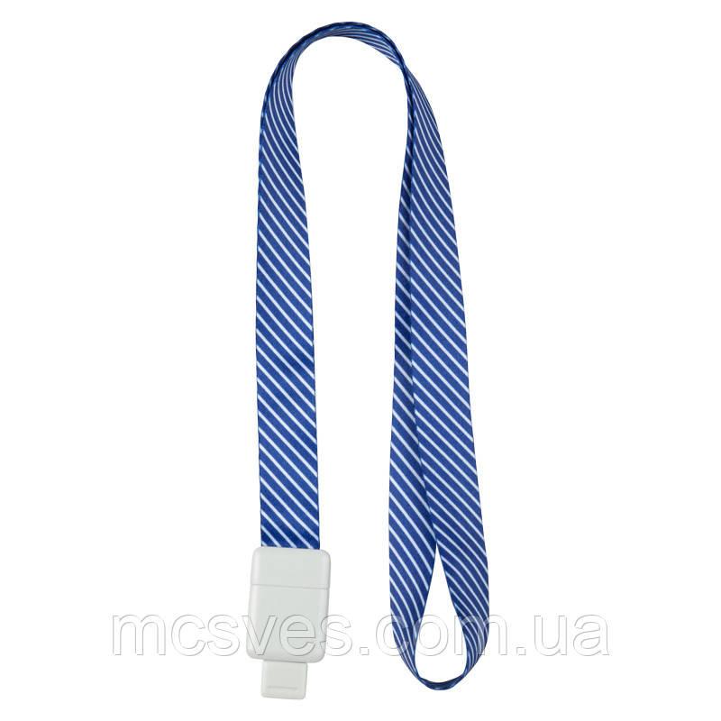 Шнурок для бейджа Axent Office, з ретрактором, синя смуга, 4560-22-a