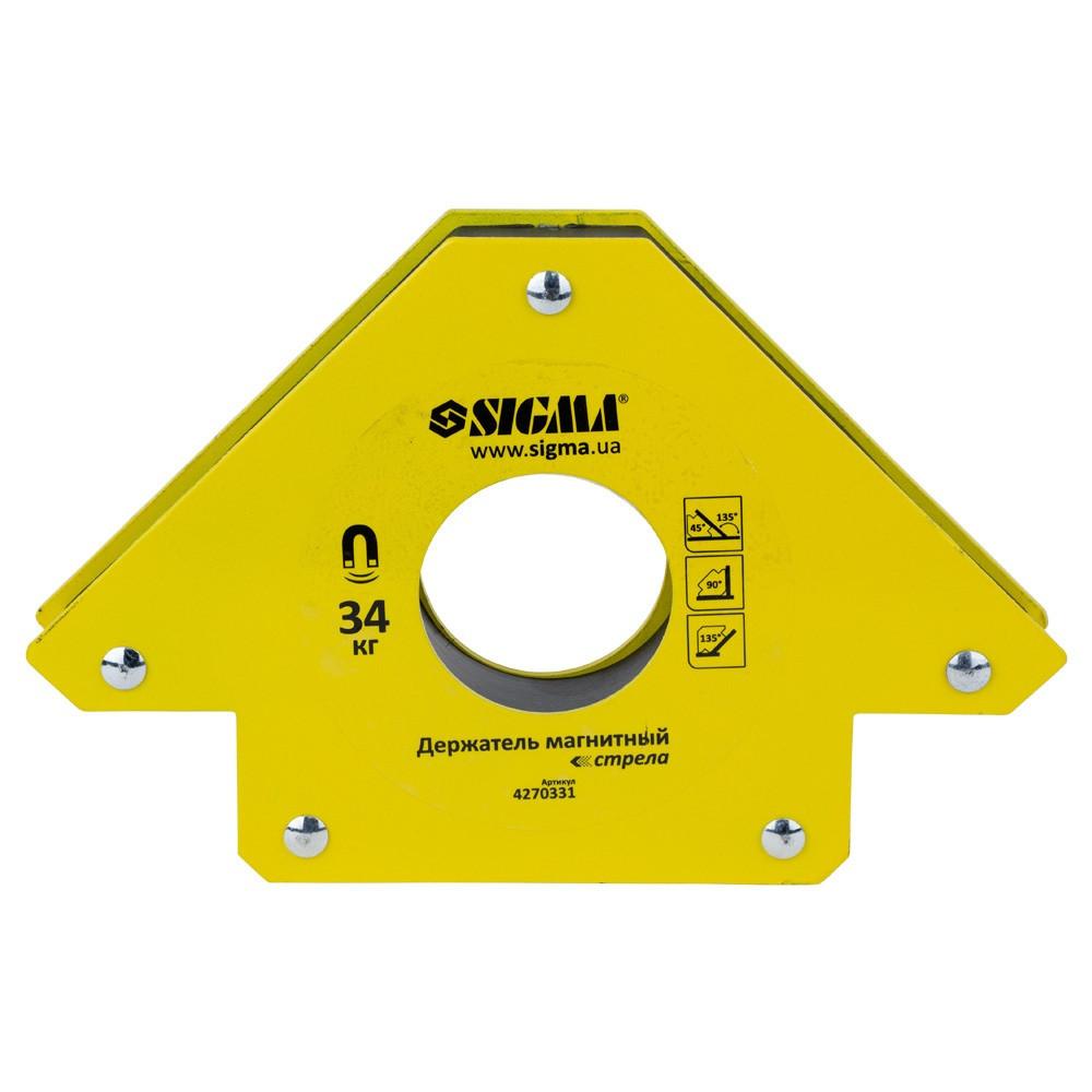 Магнит для сварки стрела 34кг 110×110мм (45, 90, 135°) SIGMA (4270331)