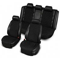 Накидки чехлы на сиденья автомобиля из алькантары (Эко-замша) PREMIUM Черный Полный комплект