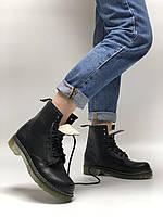 """Зимние Женские Ботинки Dr. Martens 1460 *На Меху* """"Black"""" - """"Черные"""" (Копия ААА+), фото 1"""