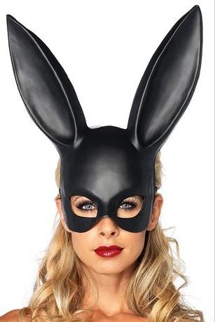 Милые уши зайца, Маска кролика PlayBoy, черная матовая 38см!