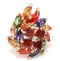 Роскошное кольцо-перстень со сверкающими камушками фианитами 19 размер