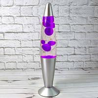 Лава лампа с парафином 34 см фиолетовая