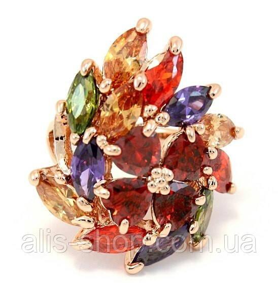 Роскошное кольцо-перстень со сверкающими камушками фианитами