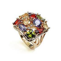 Кольцо-перстень квадратной формы с разноцветными  фианитами 18 размер