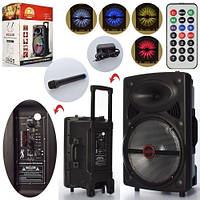 Портативная аккумуляторная Bluetooth (блютуз) колонка-чемодан на колесах с ручкой LT-1203 в комплекте микрофон