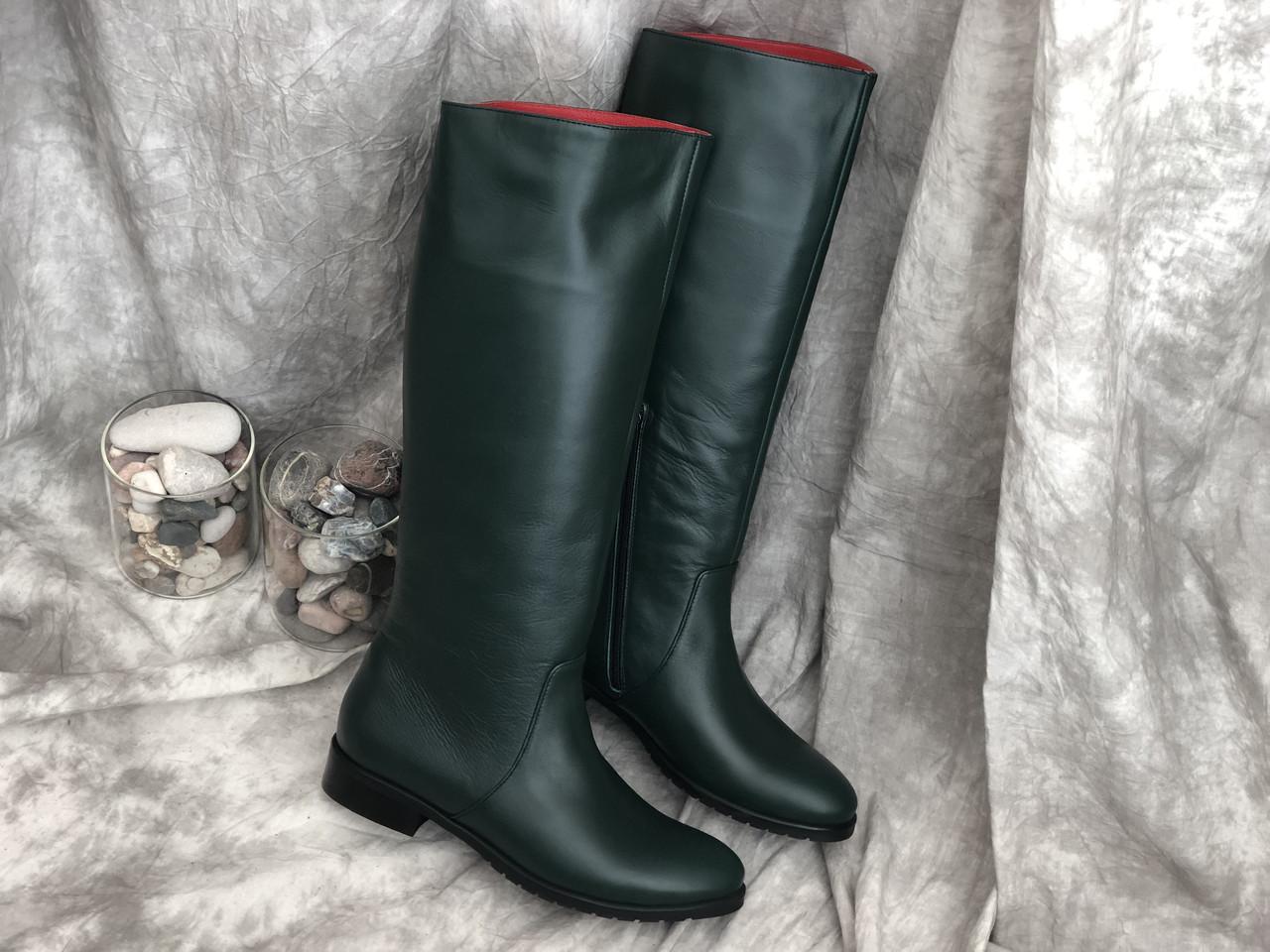 Кожаные женские сапоги очень удобные Alexander 863 зел размеры 36,37,38,39,40,41
