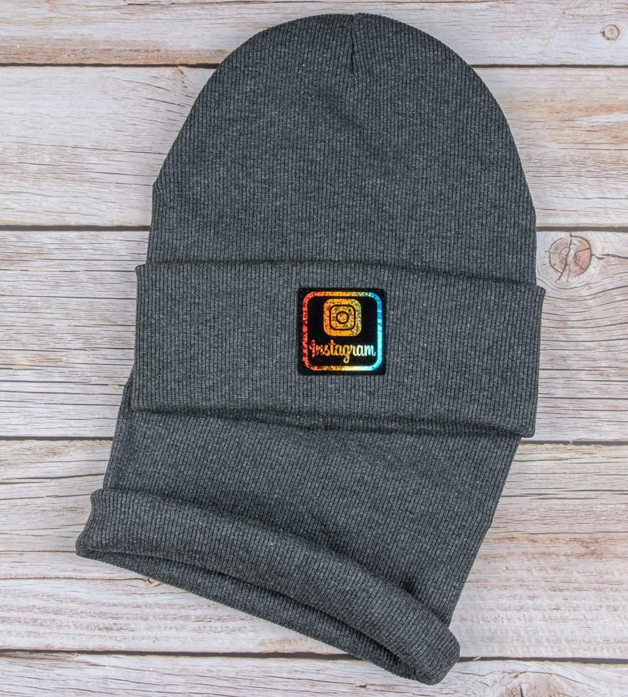 Комплект шапка и бафф Instagram опт (20222), Т.Серый