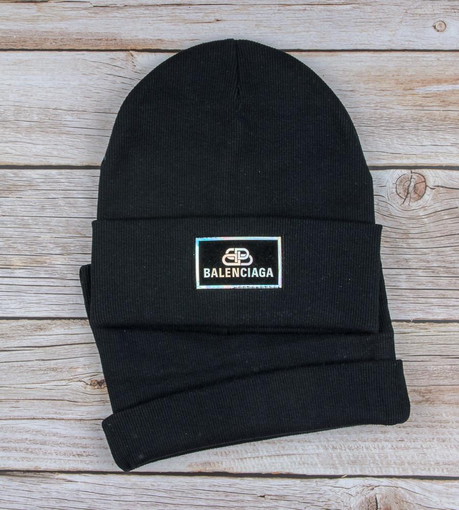 Комплект шапка и бафф Balenciaga опт (20222), Черный