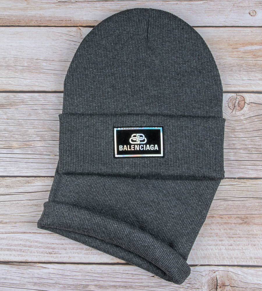 Комплект шапка и бафф Balenciaga опт (20222), Т.Серый