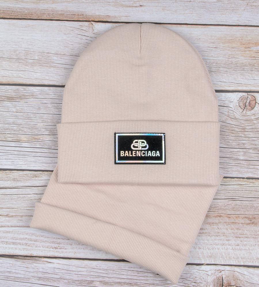 Комплект шапка и бафф Balenciaga опт (20222), Бежевый