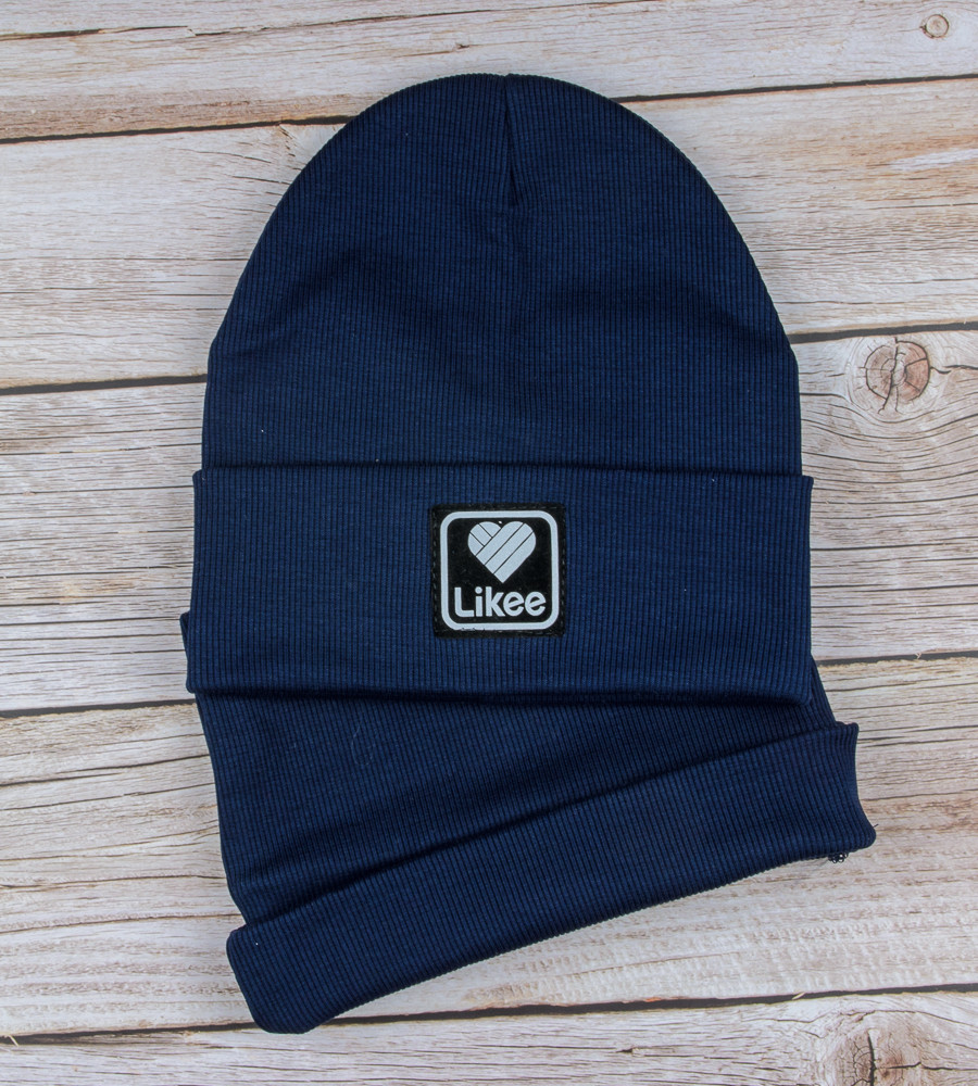 Комплект шапка и бафф Likee опт (20222), Синий