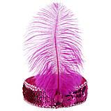 Пов'язка на голову з пером, колір бузковий, ретро стиль, стиль Чикаго, гангстерський стиль, фото 3