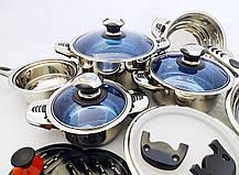 Набор кастрюль Eisenbach нержавеющая сталь 18/10, 16 элементов, фото 3