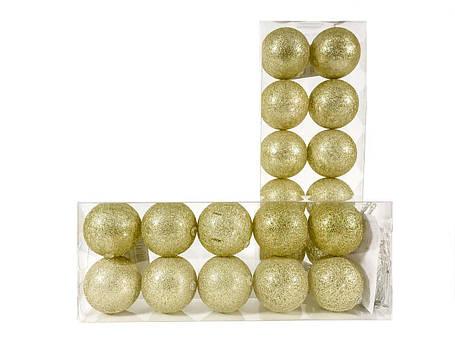 Гирлянда тайские шарики Decorino Golden Cotton Balls 10led, диам 6см, длина 235см на батарейках АА, фото 2