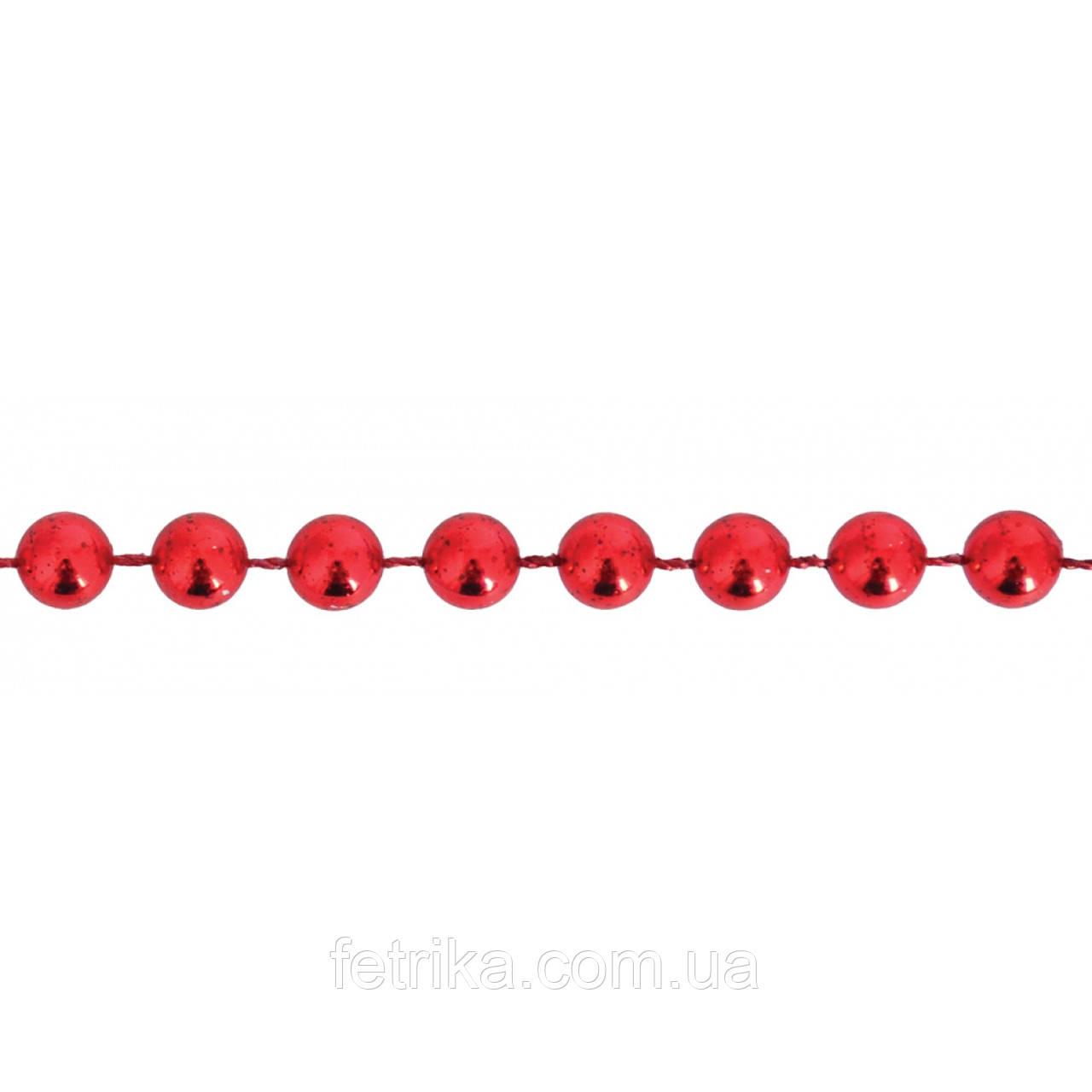 Новогодняя гирлянда, бусы новогодние 4 мм*3 м, красные