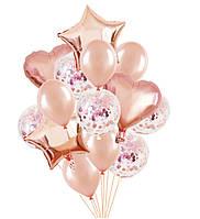 Готовый Набор шаров (14 шаров) с конфетти без хайфлота (Розовое золото микс с конфетти) для гелия