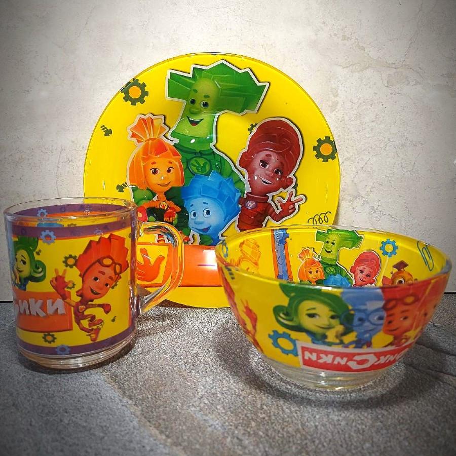 Набор детской стеклянной посуды 3 предмета с мульт-героями Фиксики, Набор детской посуды, разноцветный