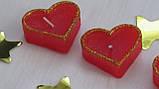 Набор 5 шт свечей в виде сердца красные, фото 3