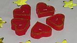 Набор 5 шт свечей в виде сердца красные, фото 5