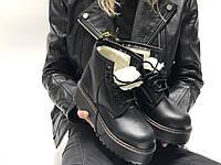 """Зимние Женские Ботинки Dr. Martens Jadon Mid на меху """"Full Black"""" - """"Полностью Черные"""" (Копия ААА+), фото 1"""