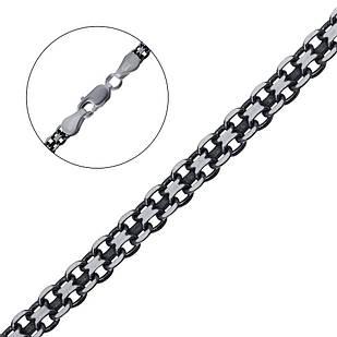 Срібна черненая ланцюжок плетіння бісмарк