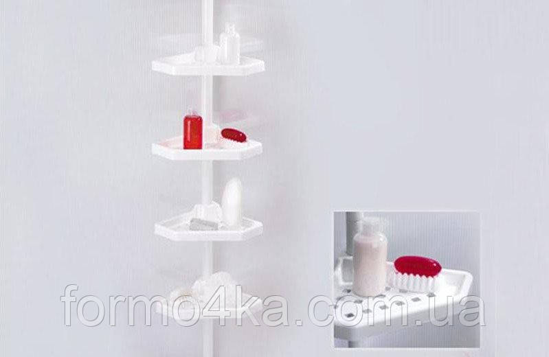 Полиця кутова у ванну кімнату телескопічна біла