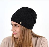 Женская вязаная шапка на флисе сделана из Турецкой пряжи.
