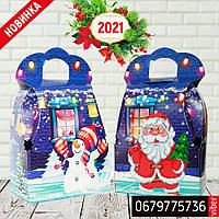 """Новогодняя картонная упаковка """"Сумка с Дедом морозом и Снеговиком"""" синяя 700-800 г., фото 1"""